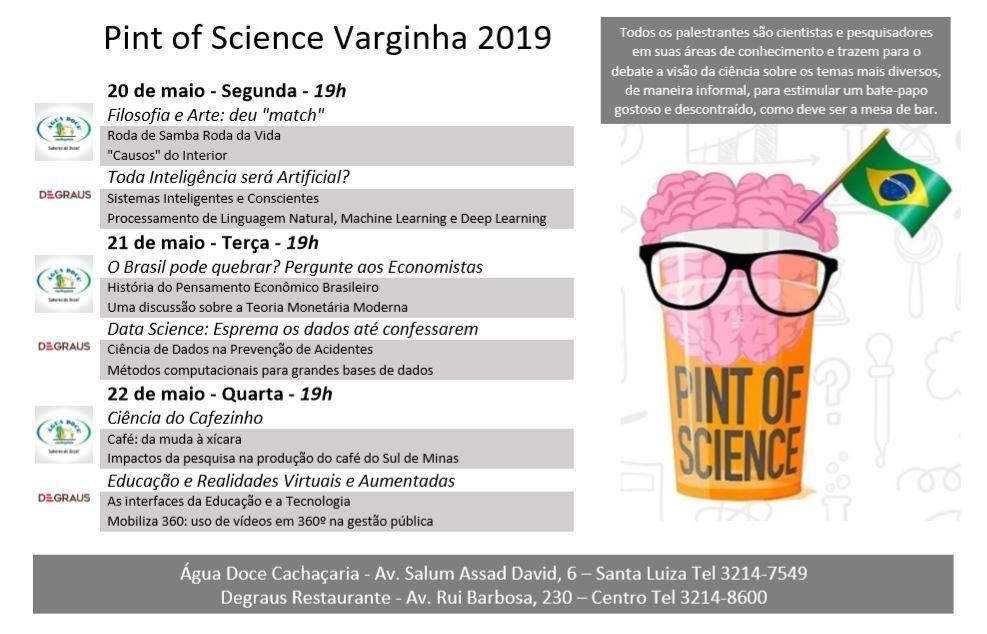 Programação Pint of Science Varginha 2019