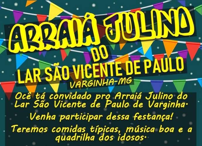 arraia julino lar sao vicente de paulo varginha cartaz