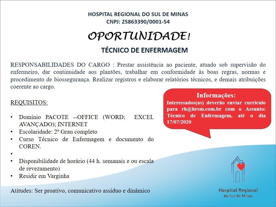 vaga de emprego hospital regional de varginha