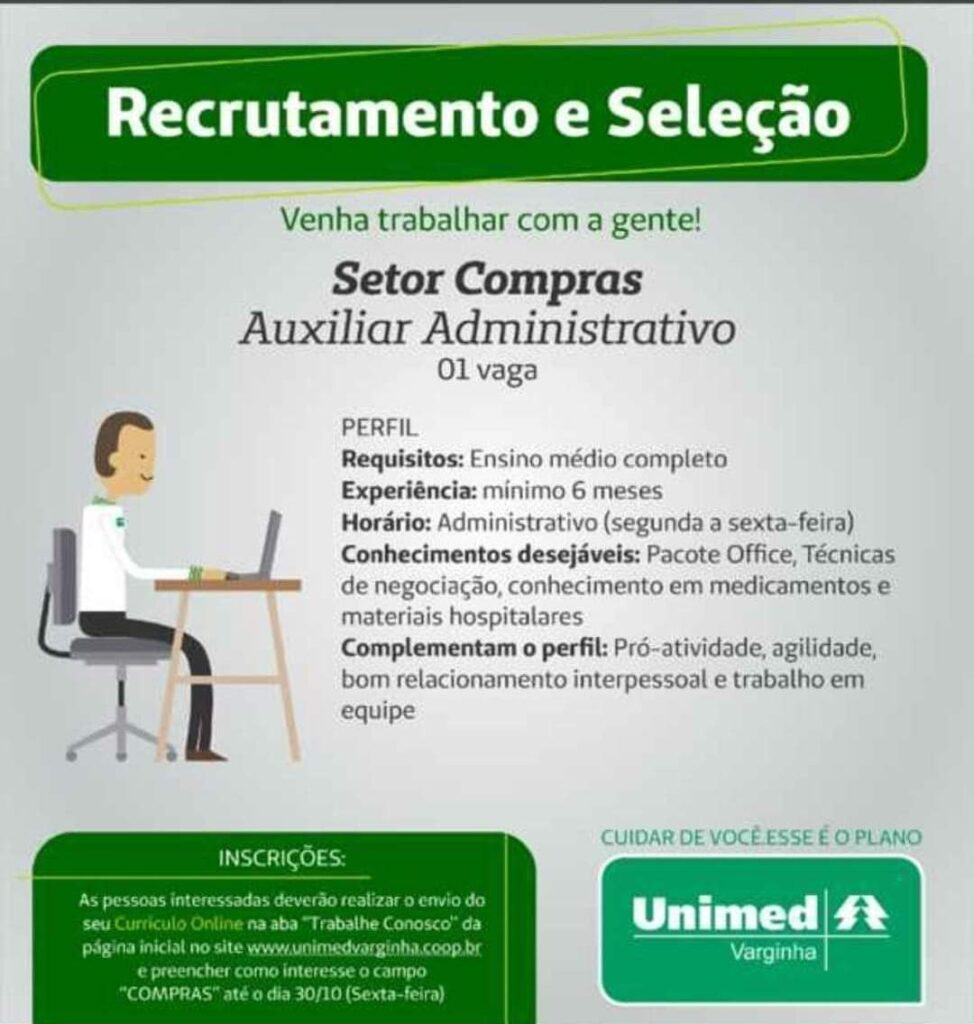 unimed vaga de emprego auxiliar administrativo