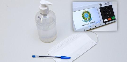 urna eletrônica, alcool gel e caneta