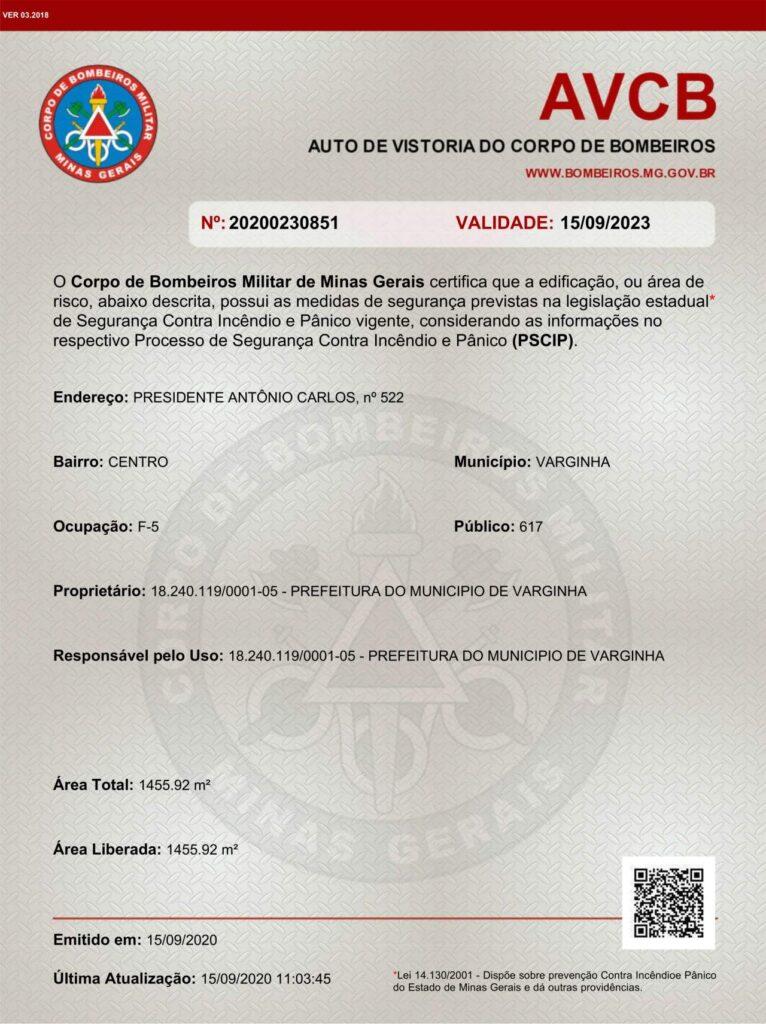 teatro capitólio varginha certificado avbc