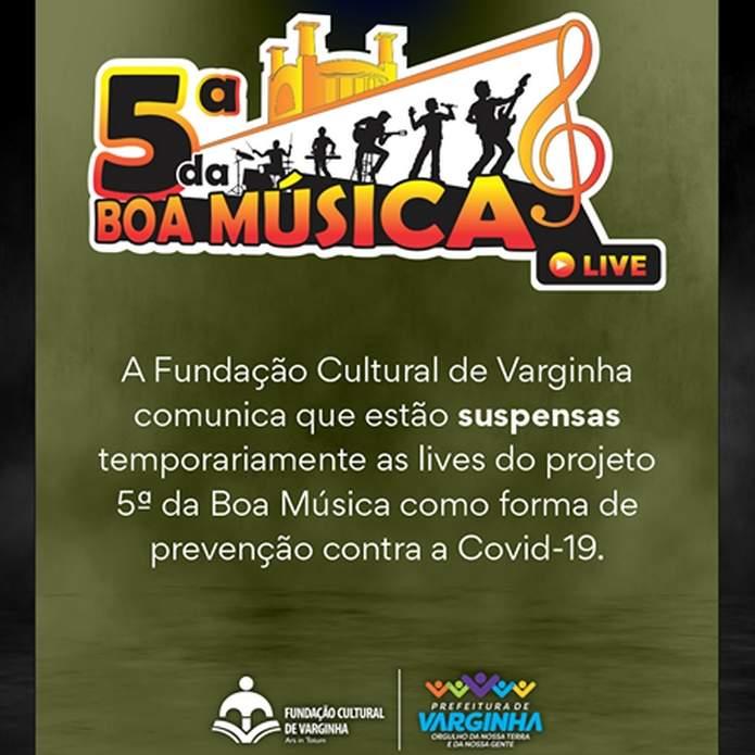 5ª da Boa Música lives canceladas
