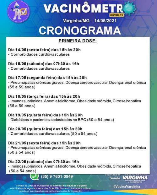 Cronograma de vacinação covid-19 varginha