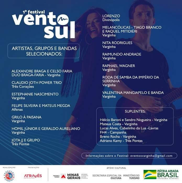 Festival Vento Sul artistas selecionados